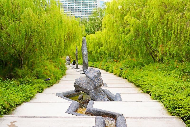 Bello giardino giapponese in giardino dalla baia, Singapore fotografie stock