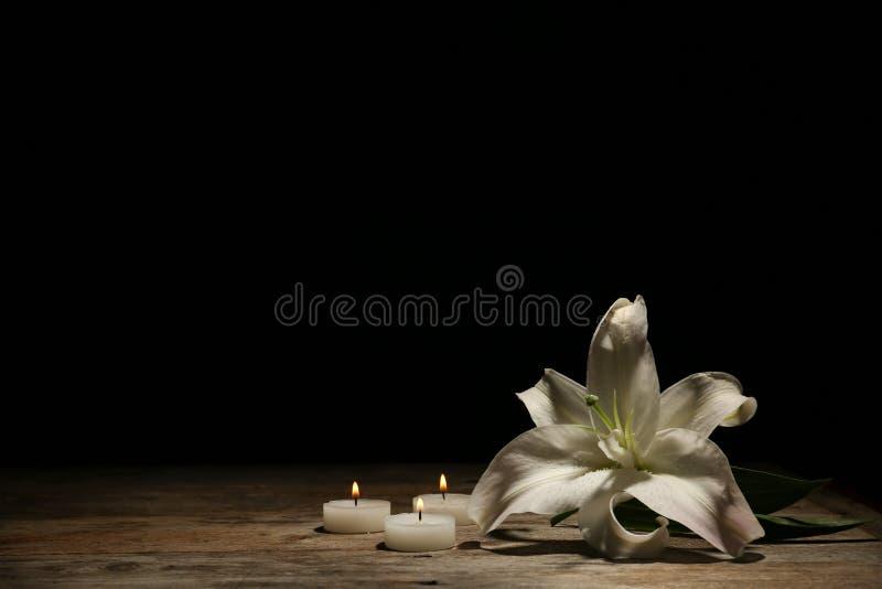 Bello giglio e candele brucianti fotografie stock
