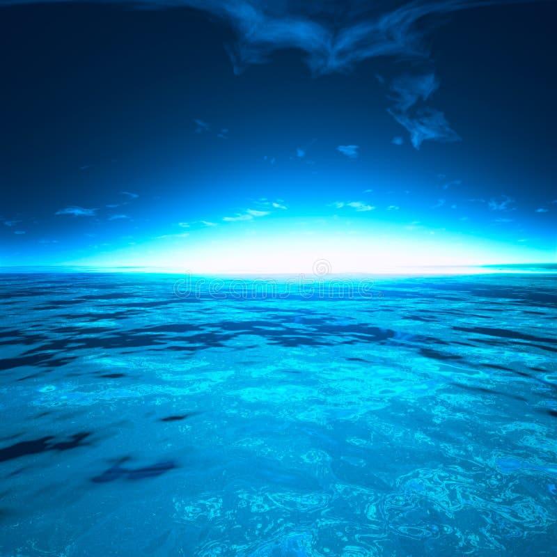 Bello giorno di tramonto di Sae dal mare fotografia stock