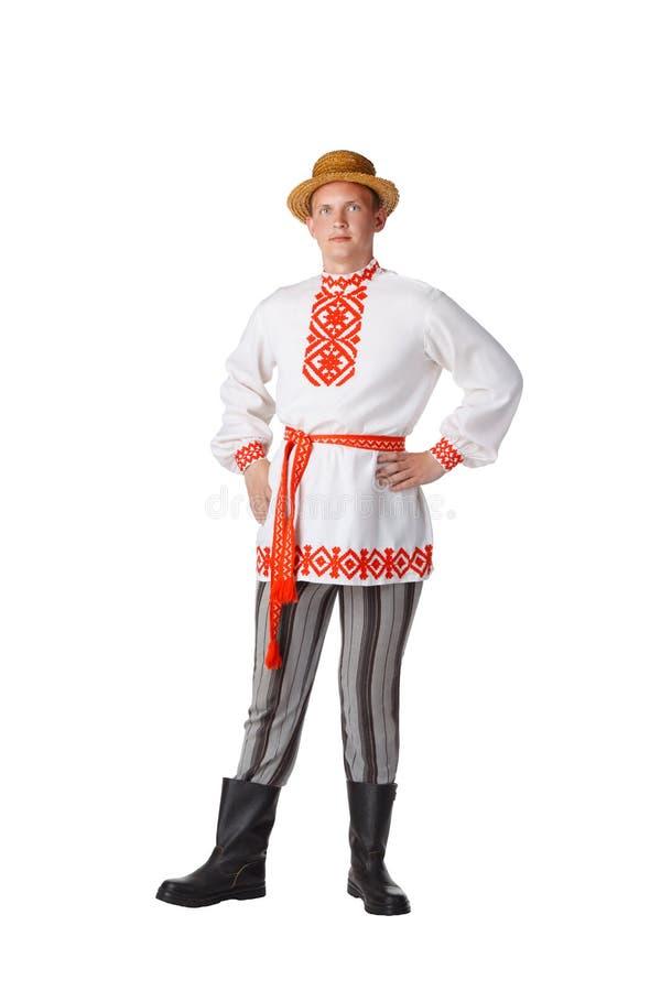 Bello giovane in costume nazionale bielorusso fotografia stock libera da diritti