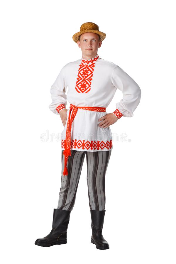 Bello giovane in costume nazionale bielorusso fotografie stock