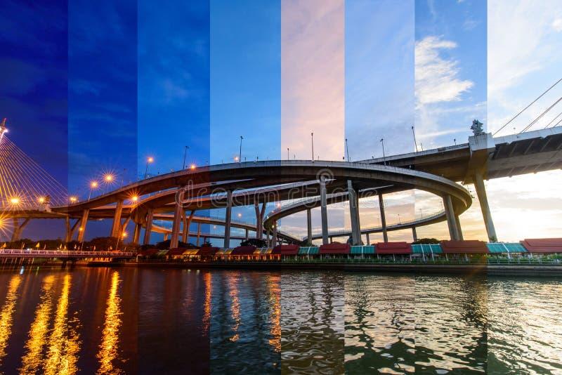 Bello grande ponte di Bhumibol di colore differente dell'ombra nel tempo di tramonto immagine stock libera da diritti