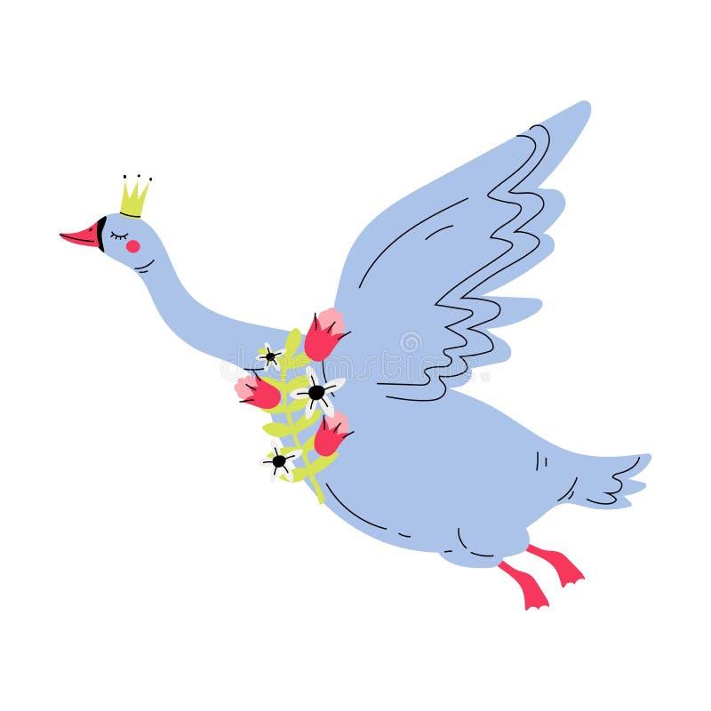 Bello Gray Flying Swan Princess con la corona dorata, regina adorabile con i fiori, illustrazione dell'uccello di favola di vetto illustrazione vettoriale