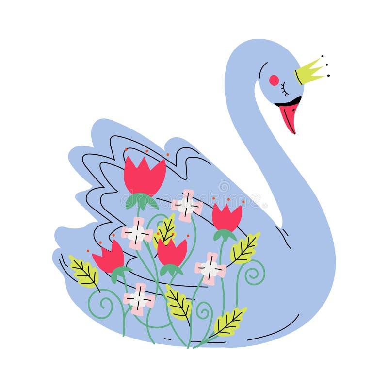 Bello Grey Swan Princess con la corona dorata, uccello adorabile di favola decorato con l'illustrazione di vettore dei fiori royalty illustrazione gratis