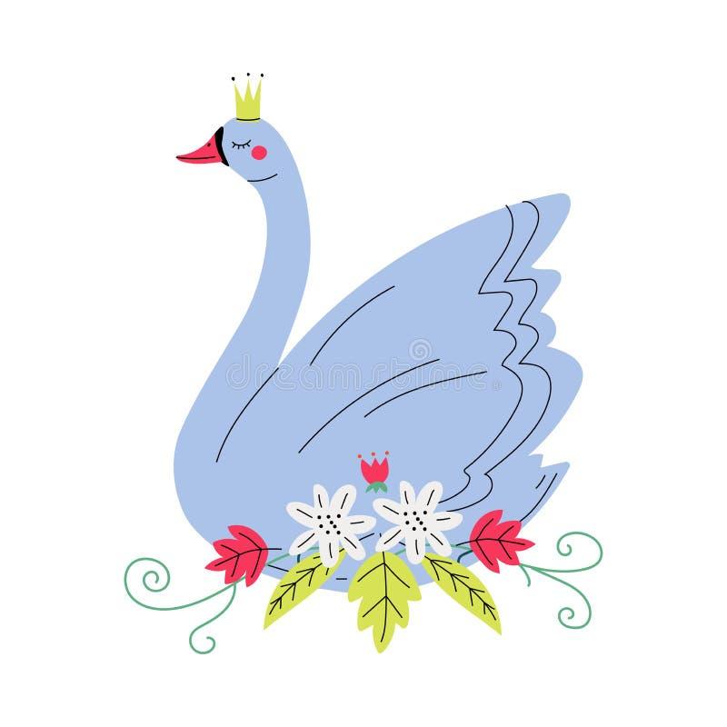 Bello Grey Swan Princess con la corona dorata, uccello adorabile di favola con l'illustrazione di vettore dei fiori royalty illustrazione gratis