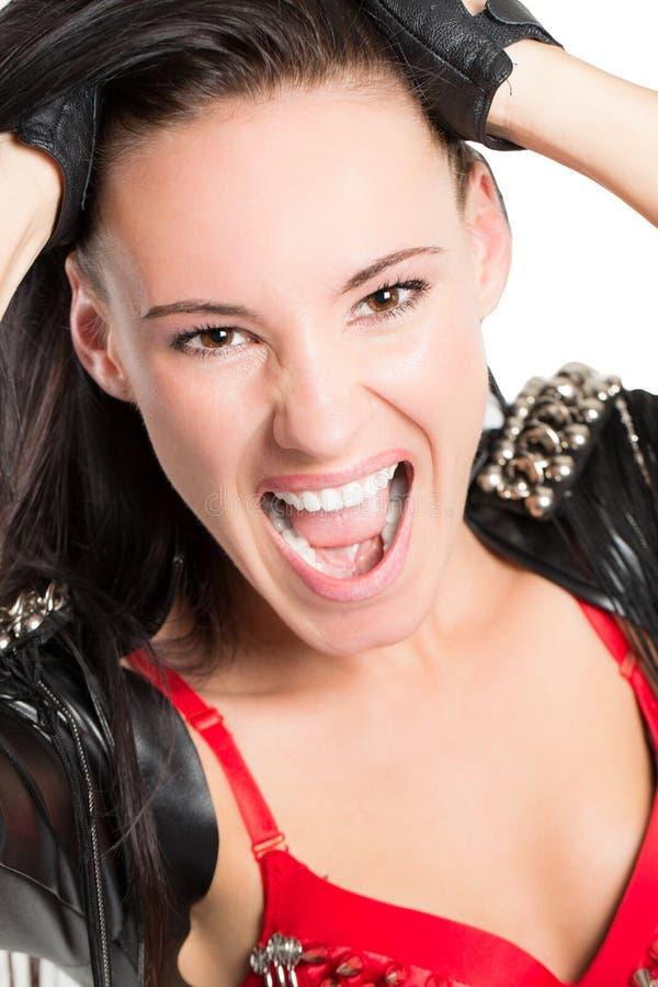 Bello grido sexy della donna del ballerino fotografia stock