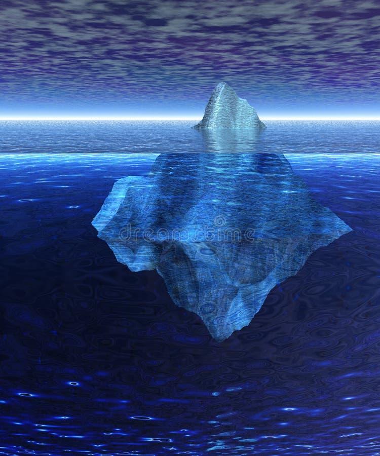 Bello iceberg di galleggiamento pieno nell'oceano aperto illustrazione vettoriale