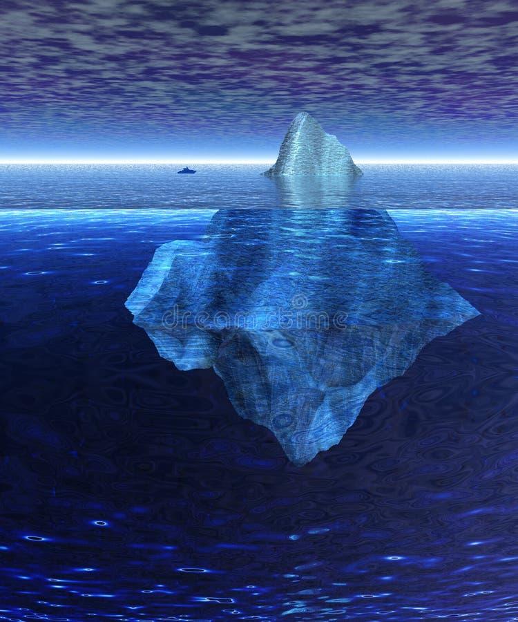 Bello iceberg pieno in oceano con il cargo illustrazione vettoriale