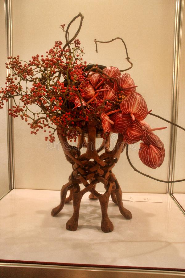 Bello ikebana artistico in Taipei, Taiwan fotografia stock libera da diritti
