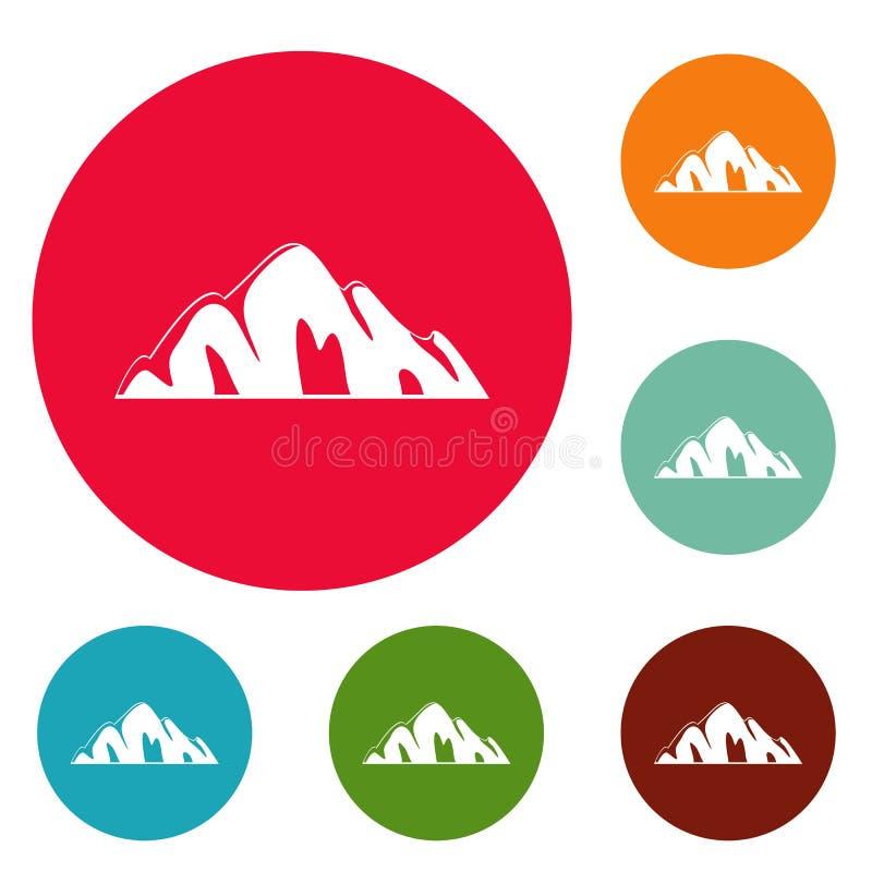 Bello insieme del cerchio delle icone della montagna illustrazione vettoriale