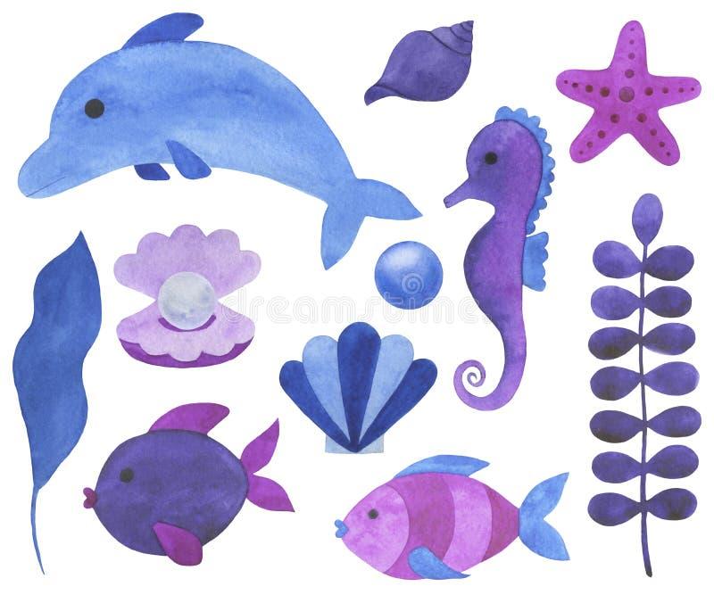 Bello insieme dell'acquerello del pe subacqueo delle coperture delle stelle marine dei coralli del paesaggio di fiaba delle illus illustrazione vettoriale
