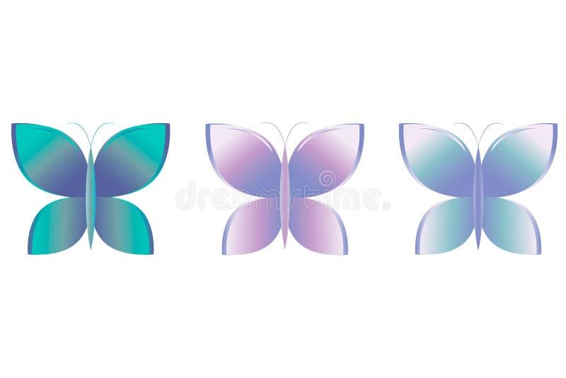 Bello insieme dell'icona della farfalla Illustrazione di vettore EPS10 illustrazione vettoriale