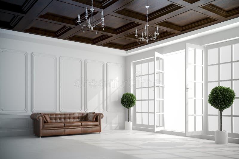 bello interno bianco d'annata 3d con le grandi finestre illustrazione di stock