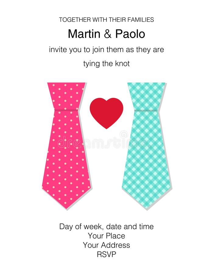 Bello invito minimalistic di nozze per la coppia dello stesso sesso illustrazione vettoriale