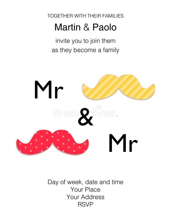 Bello invito minimalistic di nozze per la coppia dello stesso sesso royalty illustrazione gratis