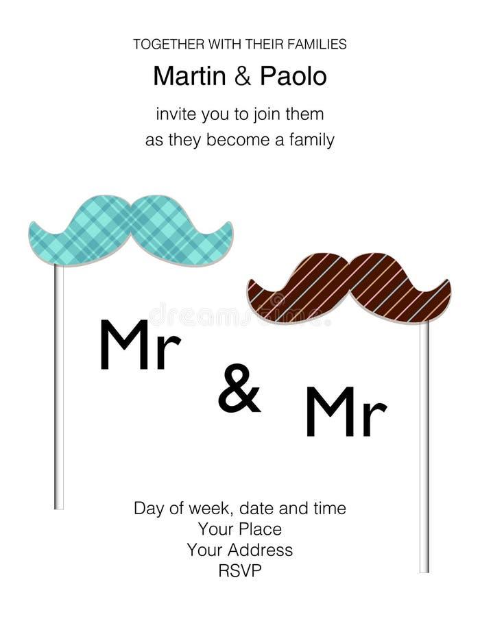Bello invito minimalistic di nozze per la coppia dello stesso sesso illustrazione di stock