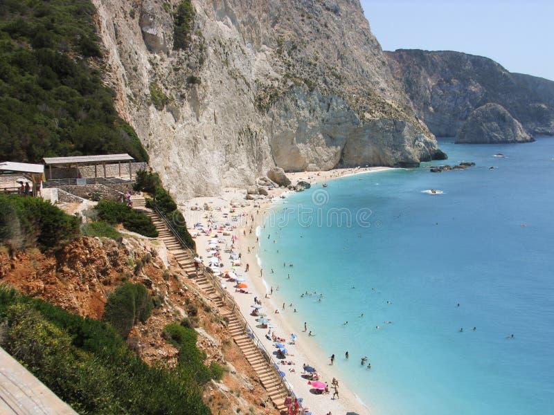 Bello katsiki di Oporto della spiaggia a Leucade Grecia Vista dalla parte superiore immagine stock