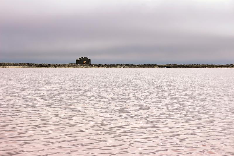 Bello lago di sale rosa e cielo drammatico in Namibia, Africa immagine stock