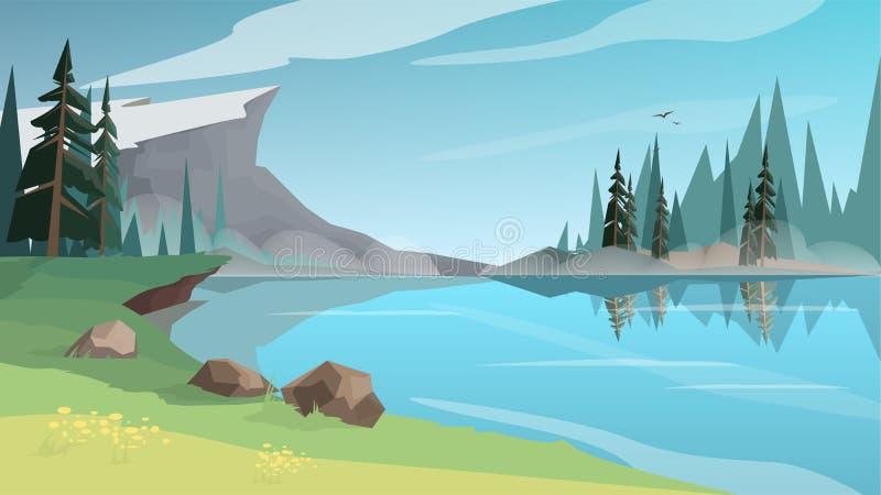 Bello lanscape con uno stagno, un fiume o un lago illustrazione di stock