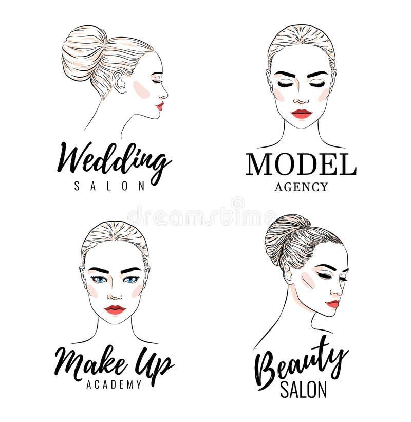 Bello logo di modello dell'insieme di logo della donna, dell'accademia, salone di nozze di bellezza, insegna o progettazione del  illustrazione di stock