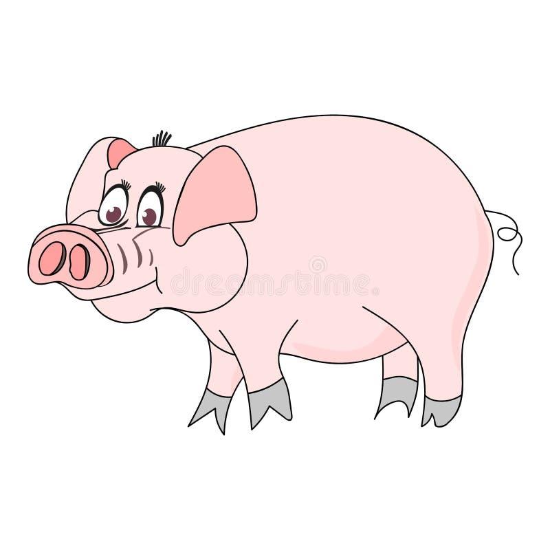 Bello maiale variopinto di vettore -- un simbolo di 2019 anni illustrazione vettoriale
