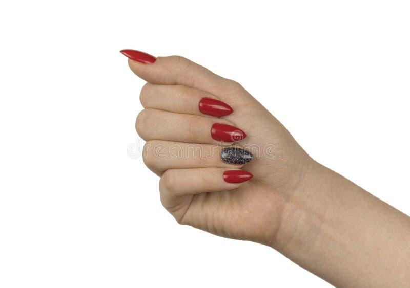 Bello manicure rosso fotografie stock