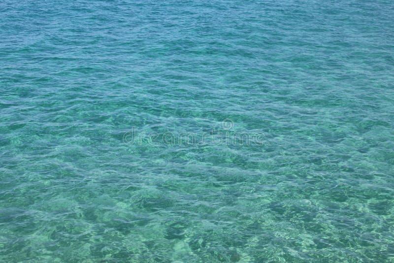 Bello mare e chiara acqua Superficie blu del mare con le onde Fondo naturale del mare fotografia stock libera da diritti