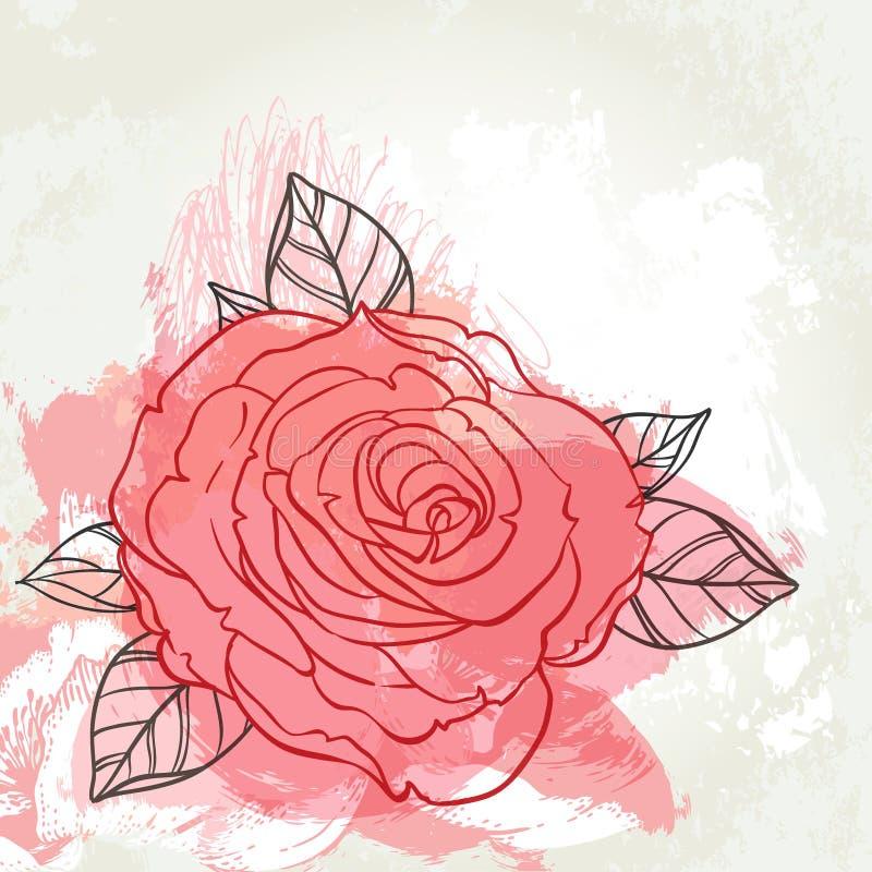 Bello mazzo delle rose che attinge il fondo beige di lerciume Mano illustrazione di stock