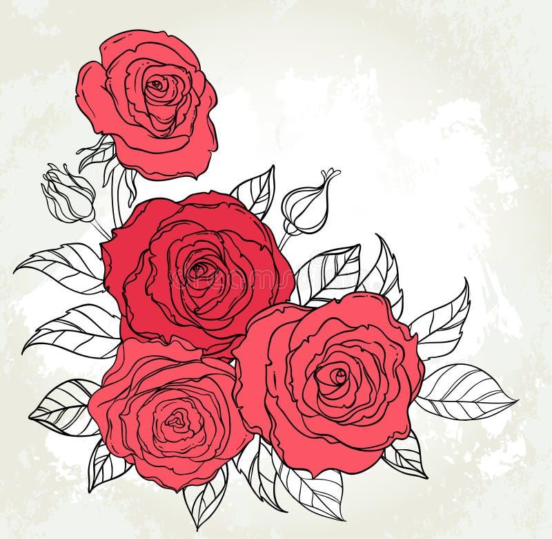 Bello mazzo delle rose che attinge il fondo beige di lerciume Mano illustrazione vettoriale