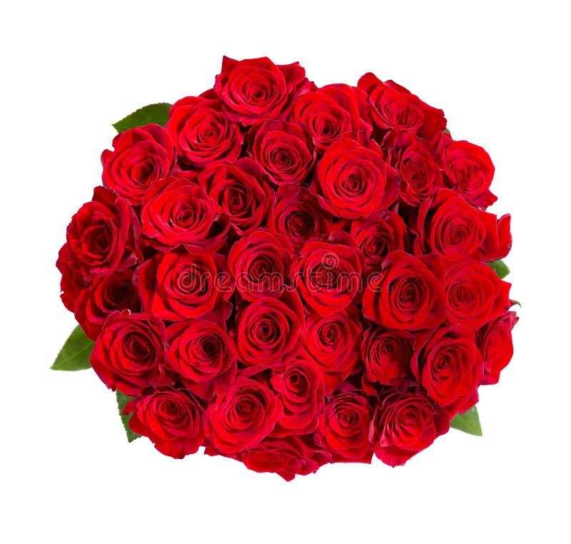 Bello mazzo delle rose rosse isolato su bianco fotografia stock libera da diritti