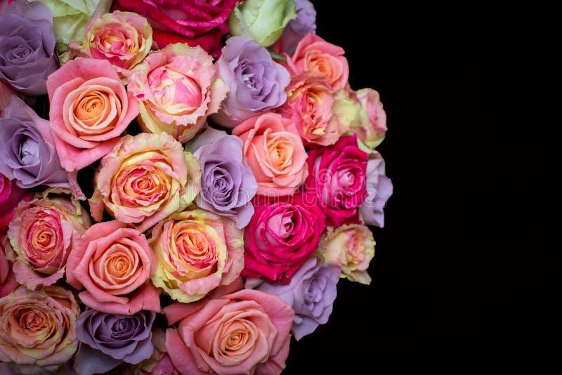 Bello mazzo delle rose in un contenitore di regalo Mazzo delle rose dentellare Primo piano rosa delle rose su fondo nero, con spa fotografia stock libera da diritti