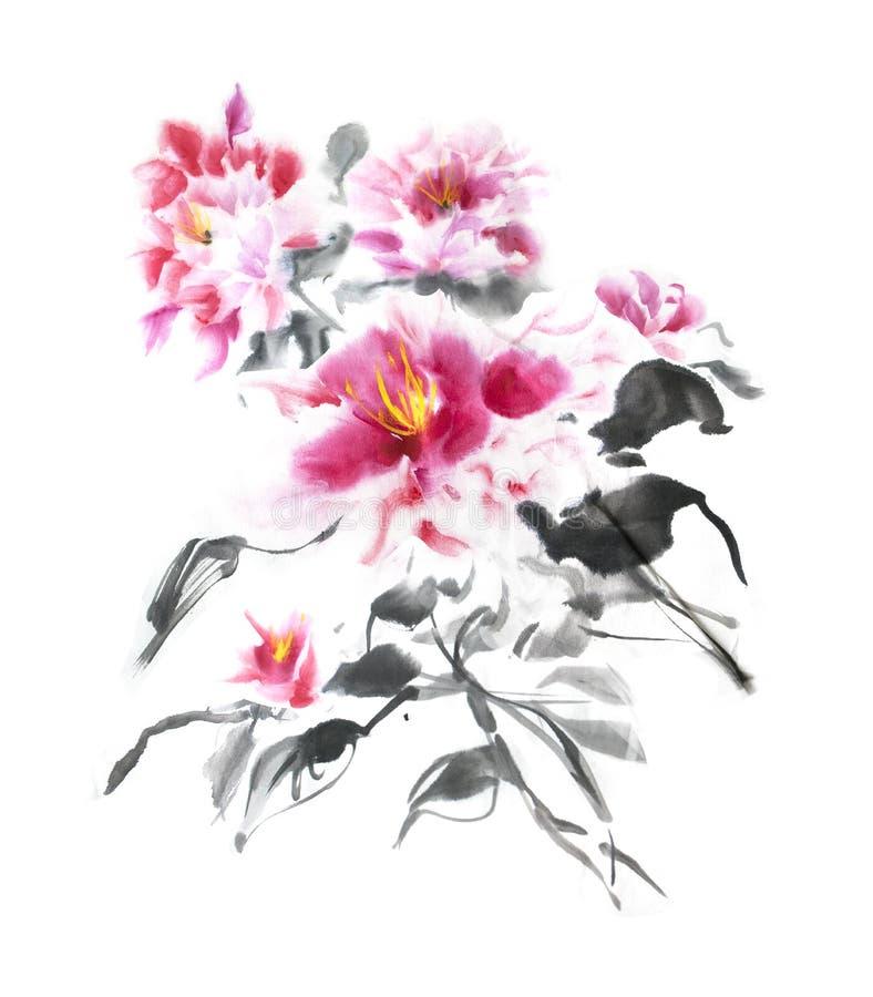 Bello mazzo di peonie rosa dipinte con inchiostro nello stile giapponese Mazzo splendido dei fiori teneri dell'acquerello illustrazione vettoriale