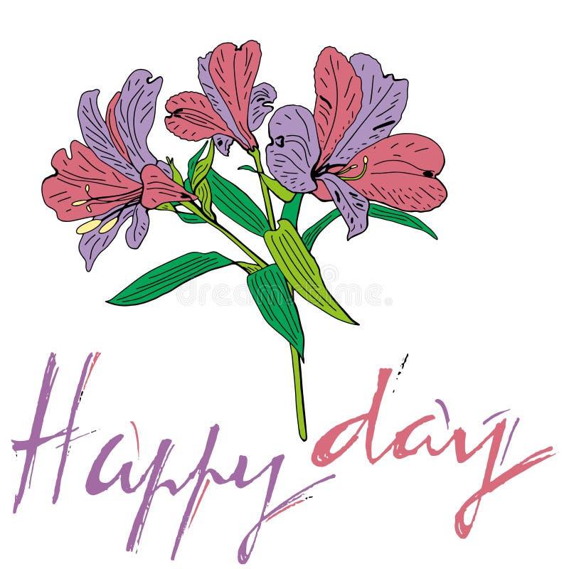 Bello mazzo floreale Iscrizione del giorno con lettere felice Arte per progettazione di evento: nozze, impegno, compleanno ed alt illustrazione di stock