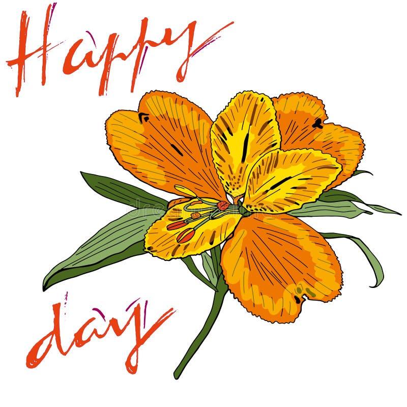 Bello mazzo floreale Iscrizione del giorno con lettere felice Arte per progettazione di evento: nozze, impegno, compleanno ed alt royalty illustrazione gratis