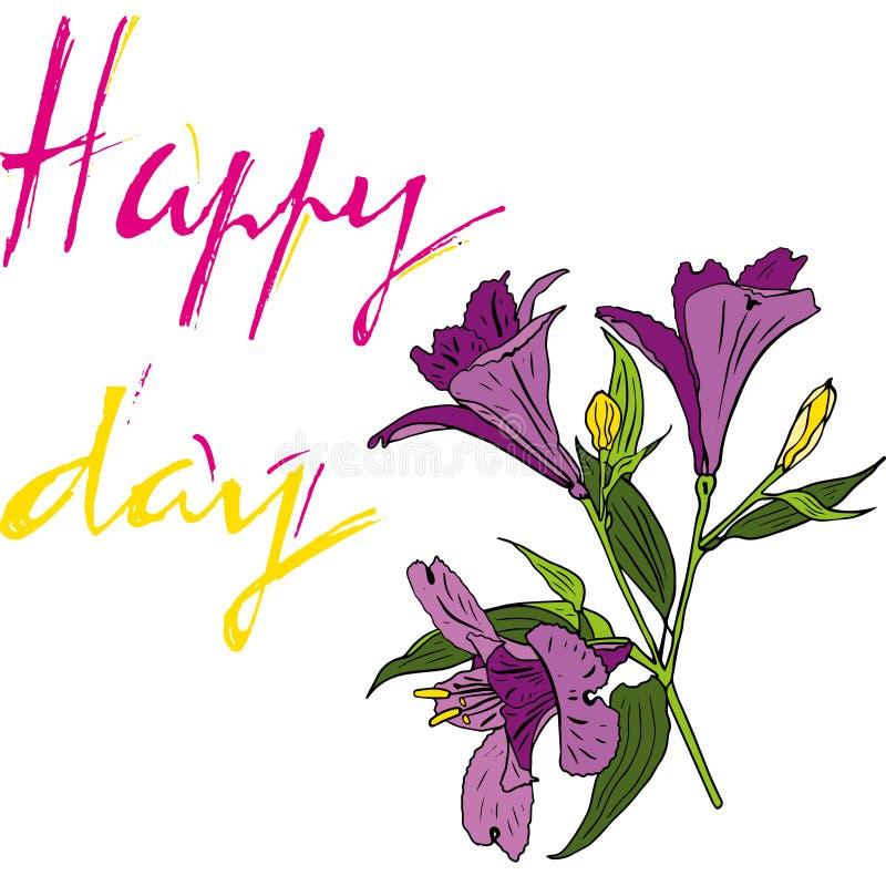 Bello mazzo floreale Iscrizione del giorno con lettere felice Arte per progettazione di evento: nozze, impegno, compleanno ed alt illustrazione vettoriale