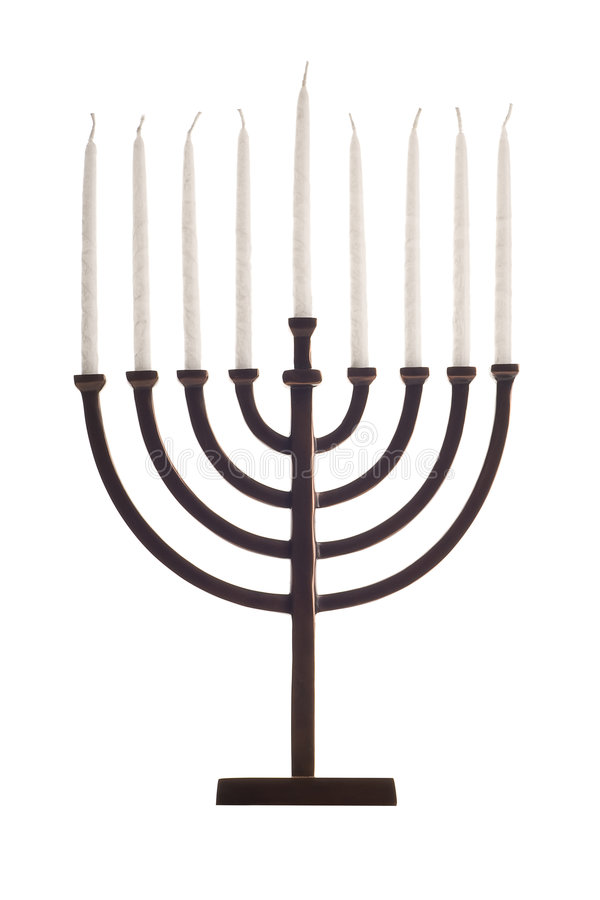 Bello menorah unlit di hanukkah su bianco fotografie stock libere da diritti