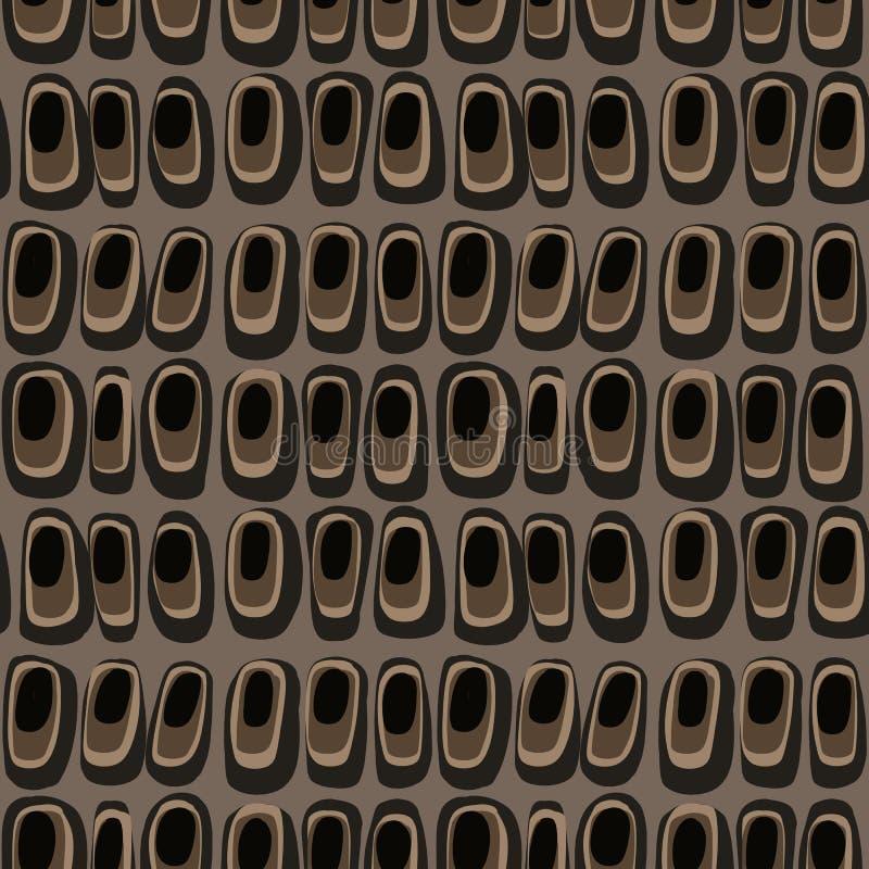 Bello modello con la forma differente astratta grafica su fondo marrone per progettazione decorativa, tessuto, carta da parati illustrazione vettoriale