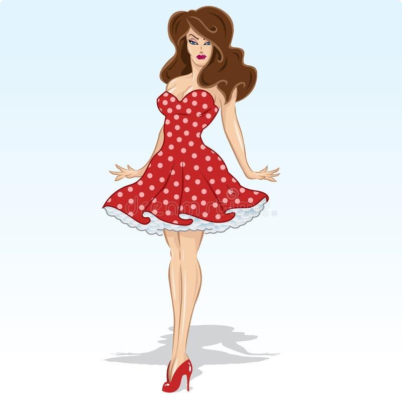Bello modello del brunette in un vestito rosso dal puntino di Polka illustrazione di stock