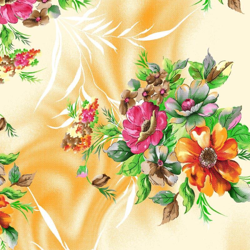 Bello modello del quadro televisivo con i fiori digitali dell'acquerello piacevole royalty illustrazione gratis