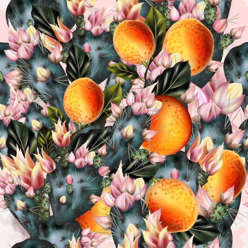 Bello modello delle arance e del cactus in pastello verde e rosa a illustrazione di stock