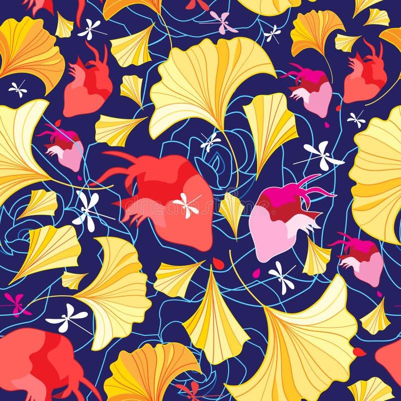 Bello modello delle foglie e dei cuori del ginkgo illustrazione vettoriale
