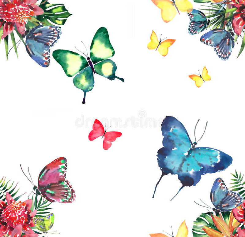 Bello modello di erbe floreale tropicale variopinto adorabile luminoso di estate dell'Hawai dei fiori tropicali e del blu giallo  royalty illustrazione gratis