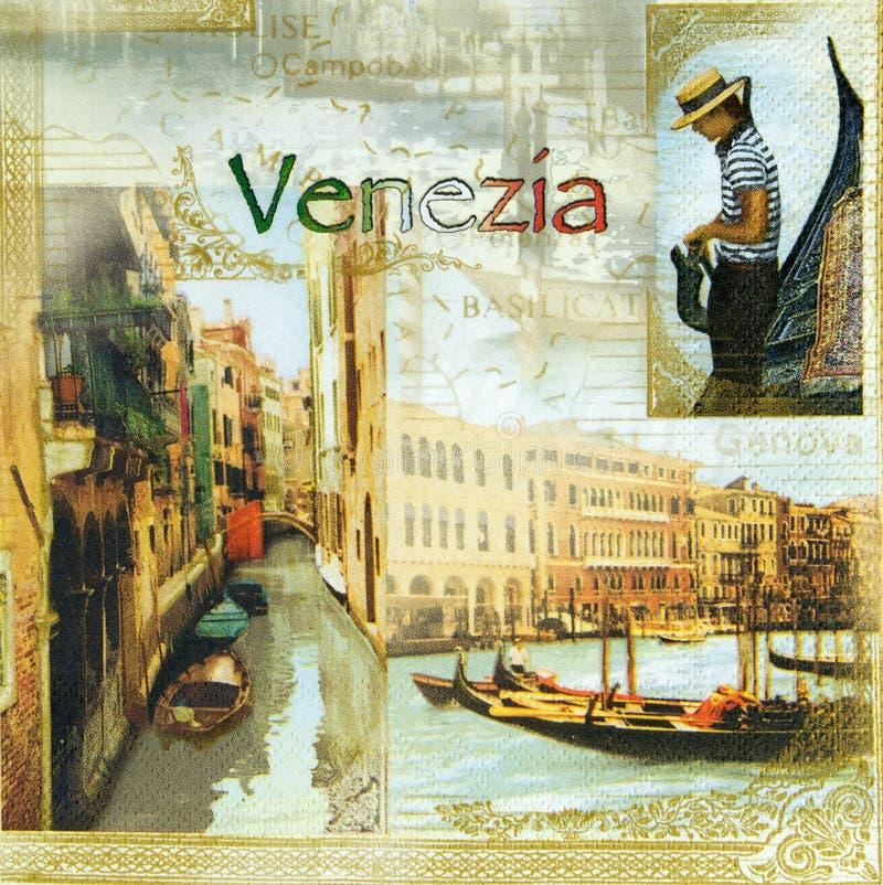 Bello modello di Venezia sul tovagliolo immagine stock