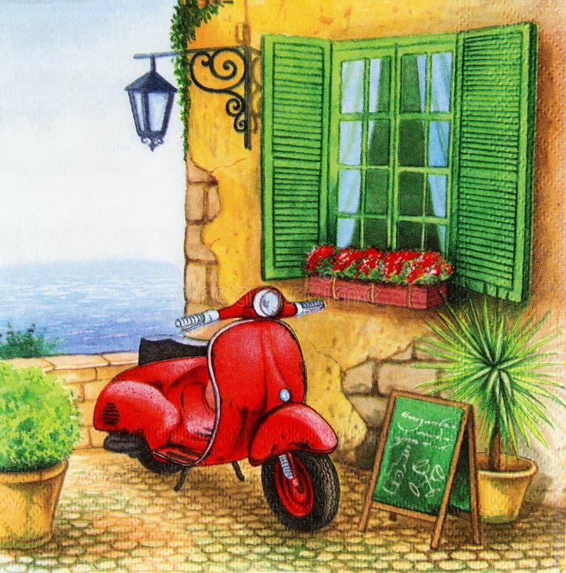 Bello modello rosso dei motocicli sul tovagliolo fotografie stock libere da diritti