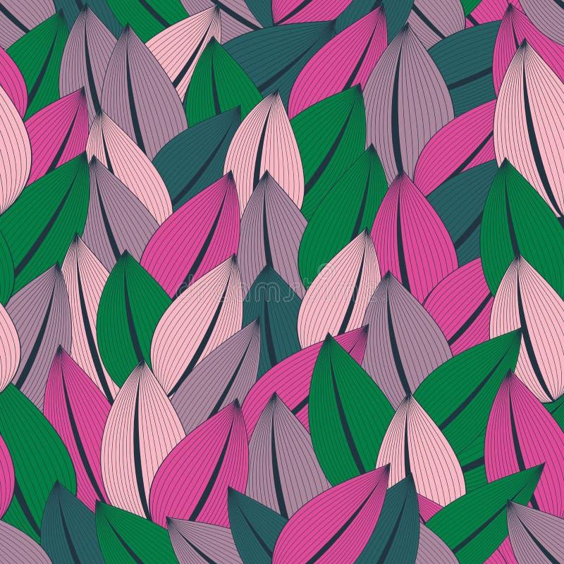 Bello modello senza cuciture alla moda delle foglie variopinte astratte in una tavolozza d'avanguardia royalty illustrazione gratis