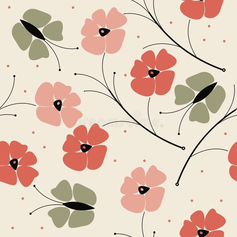 Bello modello senza cuciture con i fiori variopinti e la collina del papavero royalty illustrazione gratis