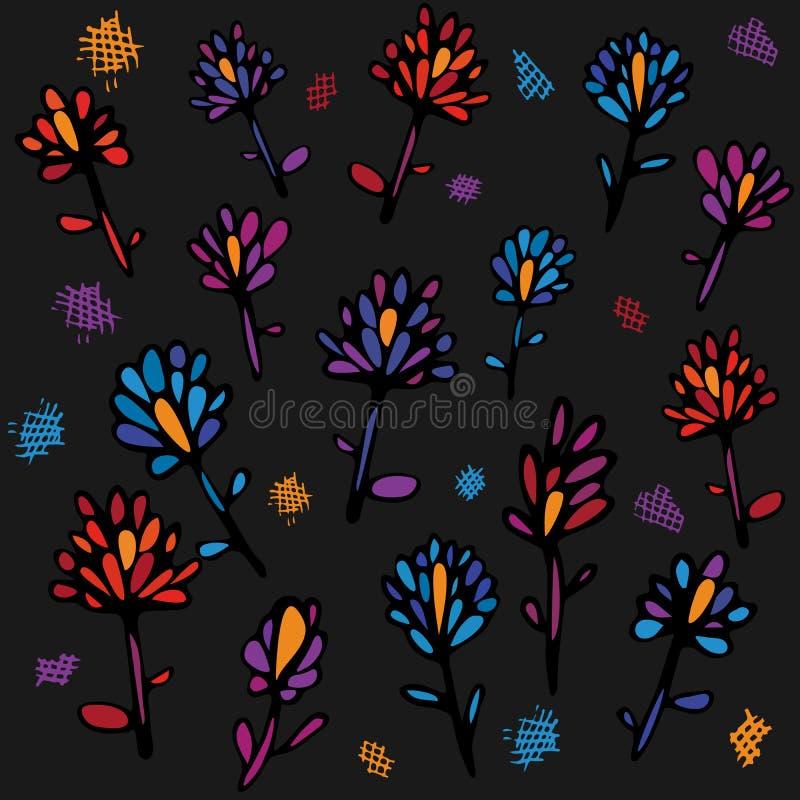 Bello modello senza cuciture con i fiori variopinti su un fondo grigio scuro L'illustrazione luminosa, può essere usata per illustrazione vettoriale