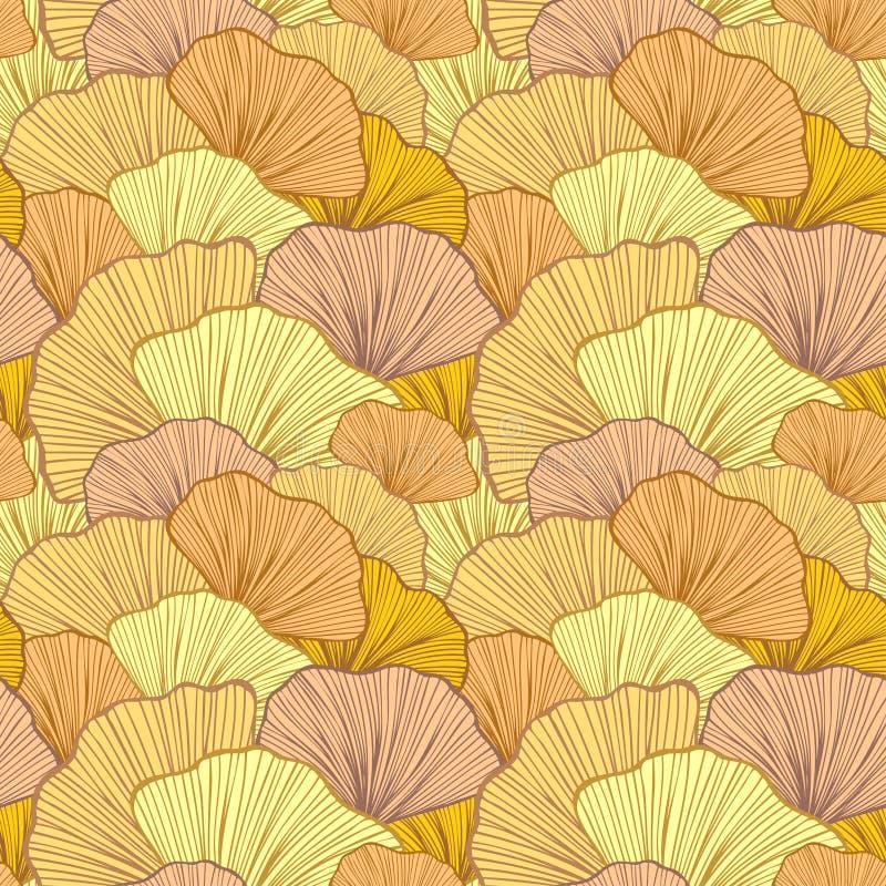 Bello modello senza cuciture con le foglie variopinte o con gli arbusti astratti nel beige illustrazione vettoriale