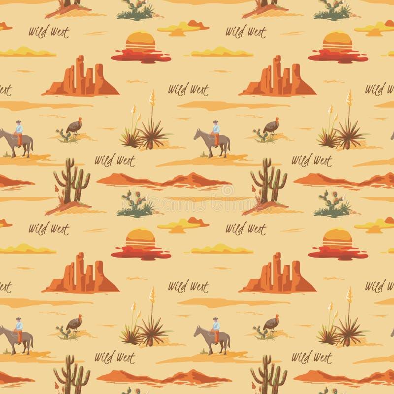 Bello modello senza cuciture d'annata dell'illustrazione del deserto Abbellisca con il cactus, le montagne, cowboy sul cavallo, i royalty illustrazione gratis
