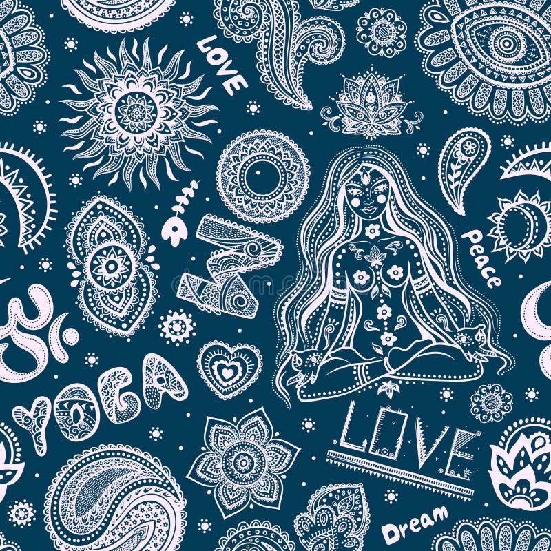 Bello modello senza cuciture di yoga con gli ornamenti illustrazione di stock